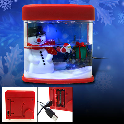 Mini X'mas Desktop Snowman USB Aquarium Office Gift