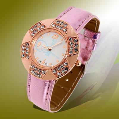 Fashion Jewelry Golden Leaves Design Diamond Ladies Leather Quartz Wrist Watch Purple Band