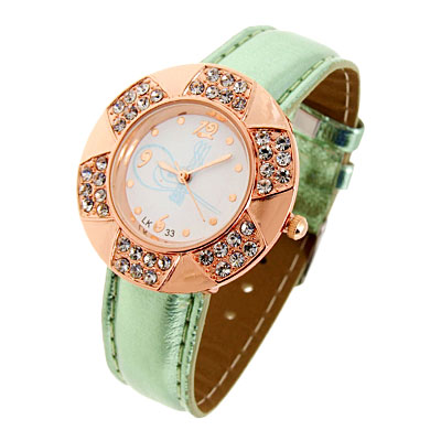 Fashion Jewelry Golden Leaves Design Diamond Ladies Leather Quartz Wrist Watch Green Band