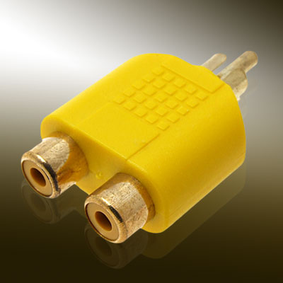 2 RCA Female to RCA Male Audio Converter Adapter-Yellow