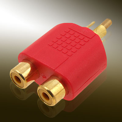 Red 2 RCA Female to RCA Male Audio Adapter Converter