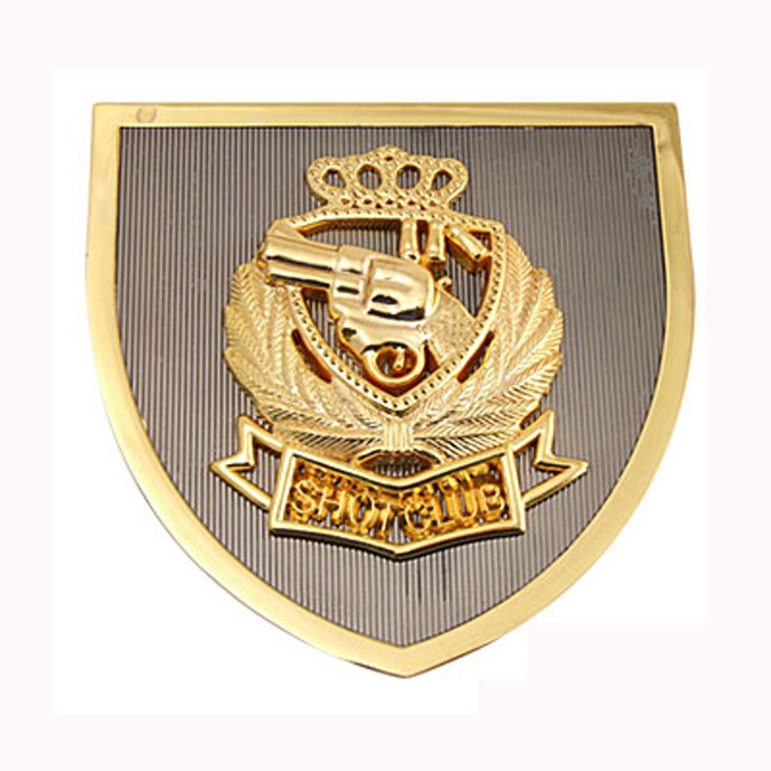 Gun Revolver Car Accessories Car Badge Emblem Golden