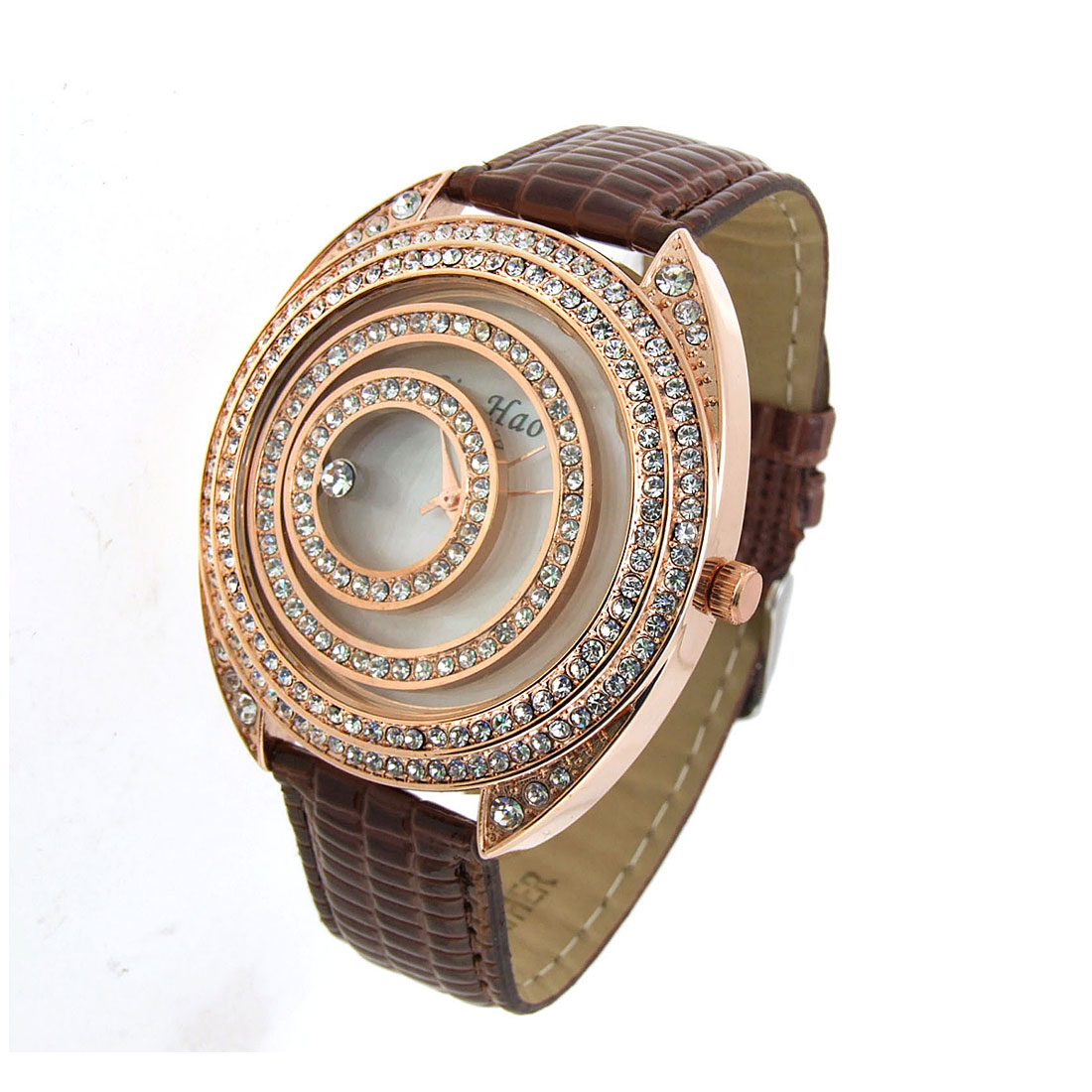 Fashion Jewelry Golden Moveable Cirque Diamond Ladies Leather Watch Brown Band