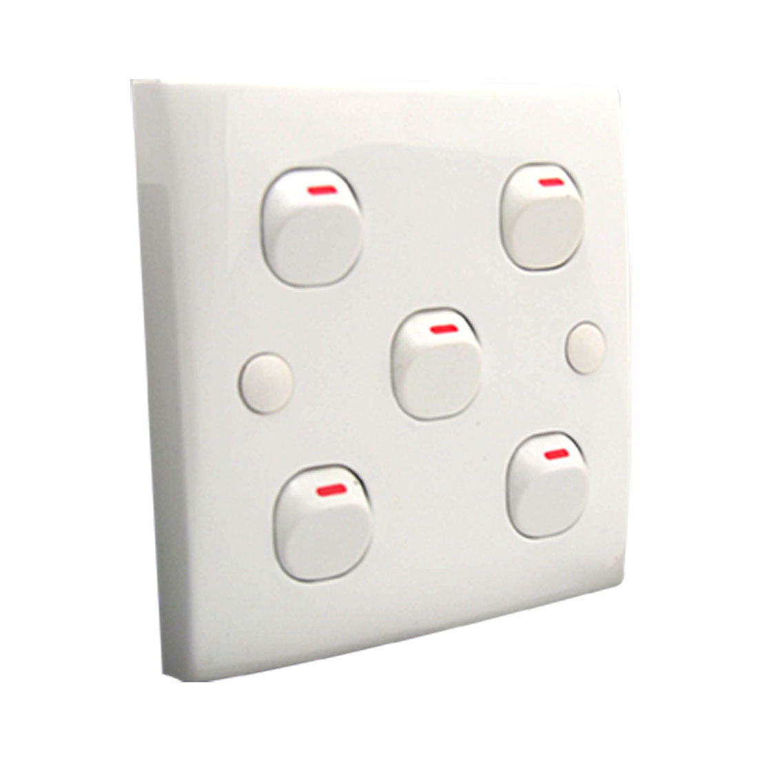5 Gang Wall Light Switch White 250V 10A