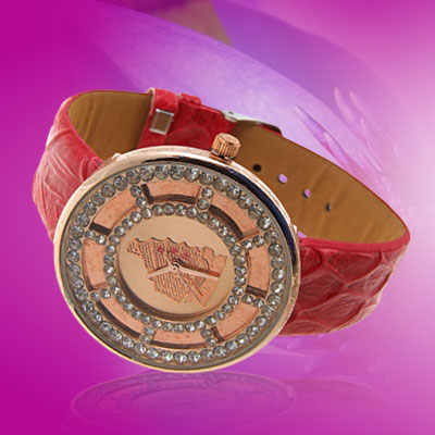 Fashion Jewelry Golden Plated Red Leather Quartz Wrist Watch