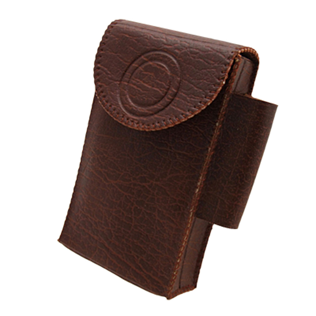 Soft 12 Cigarettes Leather Case Pouch with Lighter Holder Brown