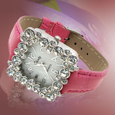 Fashion Jewelry Square Crystal Ladies Girls Leatherette Wrist Watches Peachblow Band