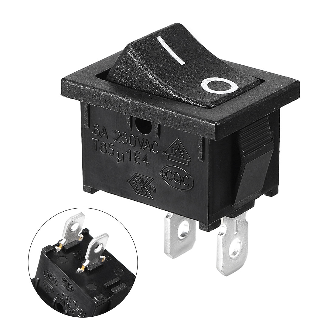 AC 10A/125V 6A/250V ON-OFF I/O 2 Position SPST 2 Pin Snap In Rocker Switch Black