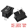 10pcs AC 10A/125V 6A/250V ON-OFF I/O 2 Position SPST 2 Pin Snap In Rocker Switch UL Listed