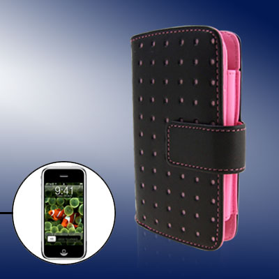 Pink Punched Leather Case Pouch Wallet Business Card Holder for Apple iPhone 1st Generation