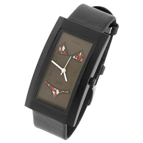 Fashion Jewelry Black Rectangle Dial Sexy Bikini Ladies Wrist Watch with Black Plastic Band