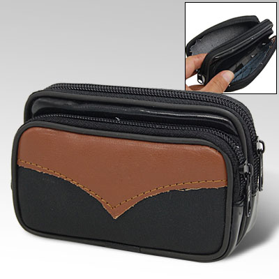 Black Leather Zipper Closure Case Pouch for Cell Phone