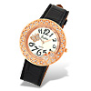 Golden Rhinestone with Black Leather Band Lady's Quartz Wrist Watch