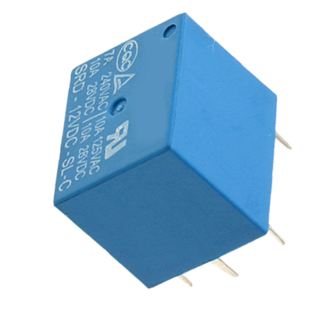 SRD-12VDC-SL-C SONGLE DC 12V SPDT 5 Pin Power Relay Blue