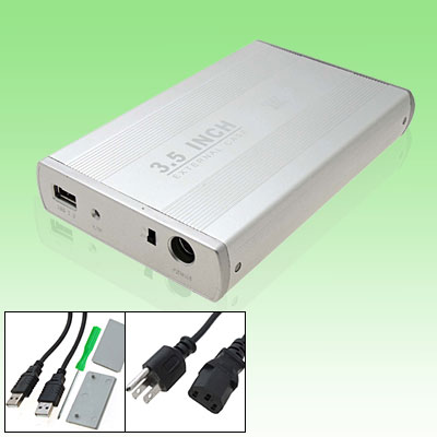 "Silvery USB 2.0 3.5"" SATA HDD External Hard Drive Case Box"