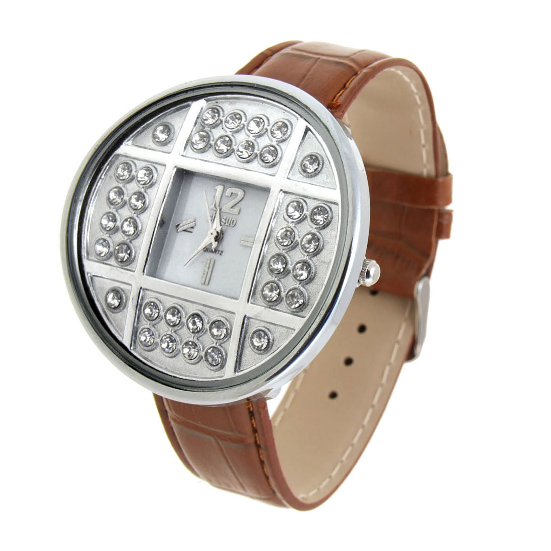 Fashion Jewelry Silver Copper Cash Ladies Wrist Quartz Watches Brown