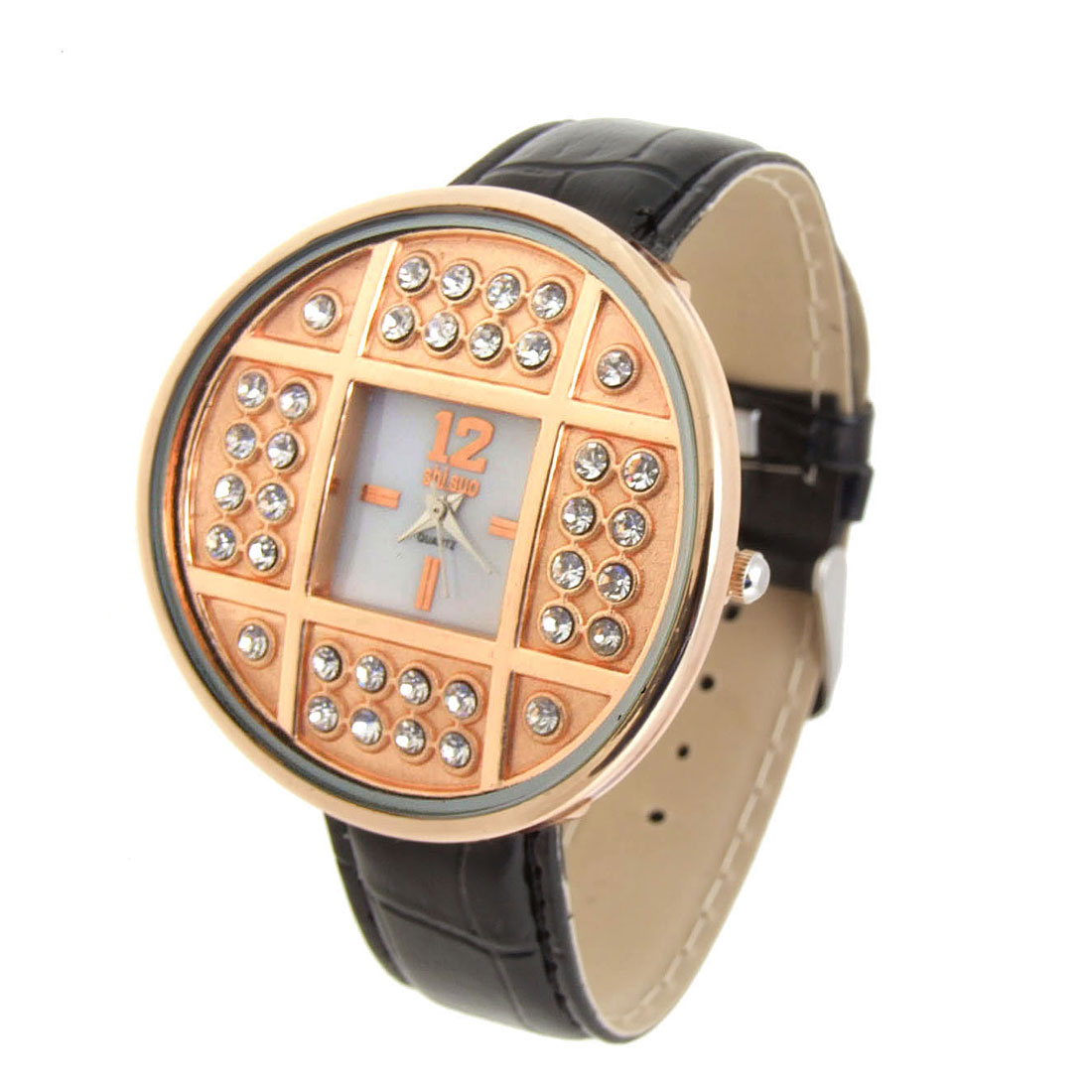 Fashion Jewelry Golden Copper Cash Ladies Wrist Quartz Watches Black