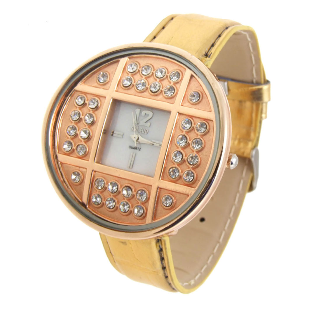 Fashion Jewelry Golden Copper Cash Ladies Wrist Leather Watches