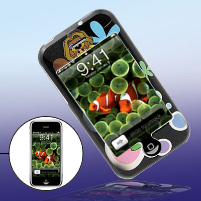 Cartoon Frog Pattern Hard Plastic Case for iPhone 1st Generation - Black