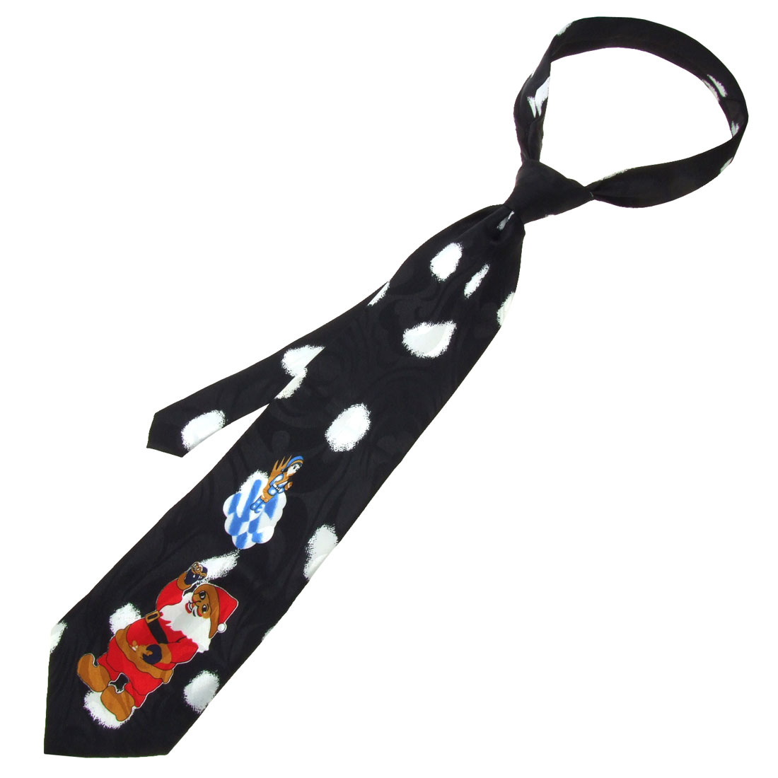 Xmas Santa Claus Hand Made Black Necktie Men's Neck Tie Strap