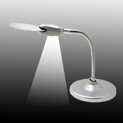 Flexible Desk 2 LED Magnifier Light - Silver