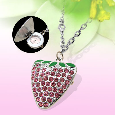 Ladies Pink Rhinestone Strawberry Necklace Watch