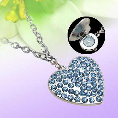 Cute Artifical Sapphire Heart Pendant Necklace Watch