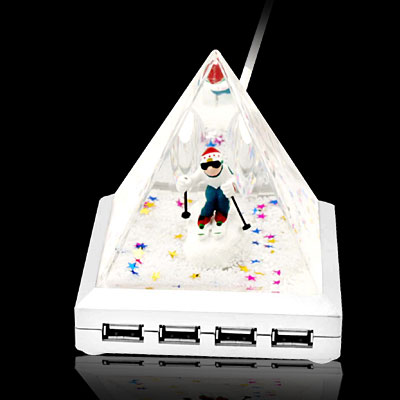 Cool Skiing Man Pyramid 4 Ports USB Hub for Laptop Computer Pen Holder