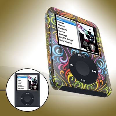 Black Multicolor Pattern Hard Plastic Case for iPod Nano 3rd Generation