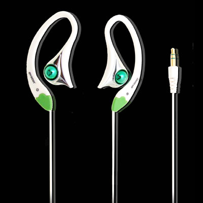 3.5mm Earhook Design Stereo Necklace Earphones Green for MP3 Cellphone