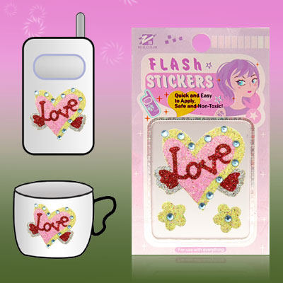 Love Heart Glitter Flash Art Sticker