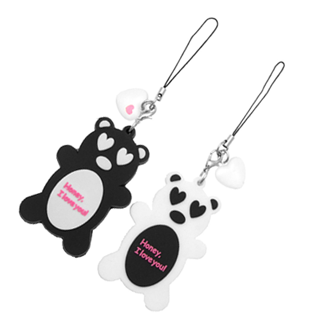 Sweet Bear Couple Heart Model Honey Plastic Phone Strap
