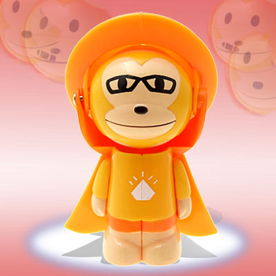 Cartoon Changing Face Monkey Toy Key Chain - Orange