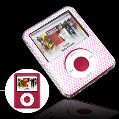 Clear Pink Grille Plastic Hard Case w/ Screen Protector for iPod Nano 3rd Gen