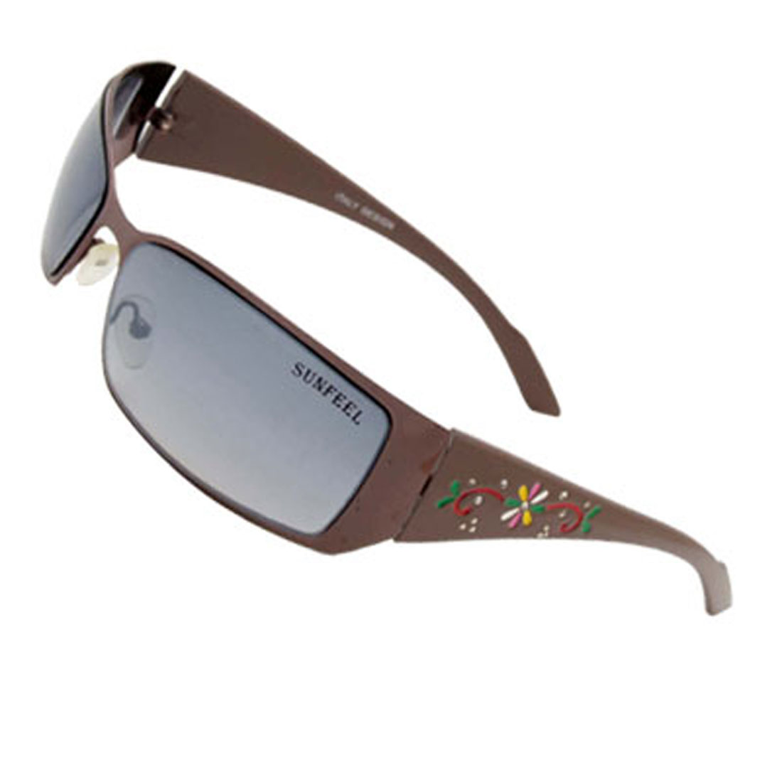 Metal Frame Modern Flower Outdoors Lady Girl Gray Sunglasses