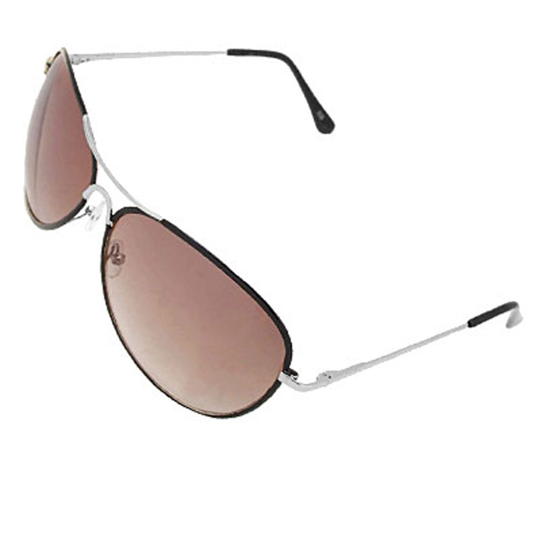 Aviator Sunglasses Black Metal Frame Brown Lens