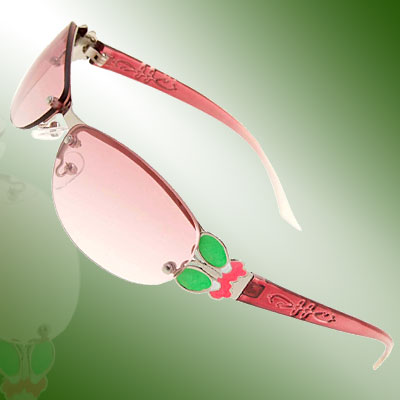 Modern Slim Metal Frame Girls Ladies Green Butterfly Sunglasses