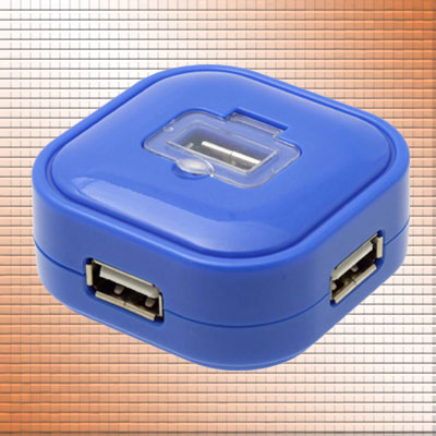 Super Mini Blue 4 Port Hi-Speed 480mbps USB 2.0 Hub