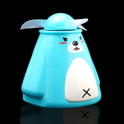 Sky Blue Battery Powered Animal Cartoon Pocket Personal Mini Fan