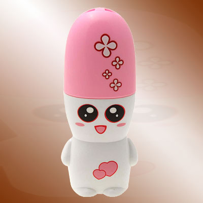 Cartoon Snowman Mini Battery Operated Pocket Neck Fan - White & Pink