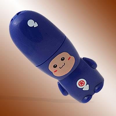 Blue Cartoon Man Small Battery Powered Personal Fan w/ Neck Strap