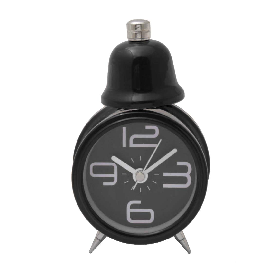Lovely Desktop Travel Single Bell Alarm Clock with Light Black