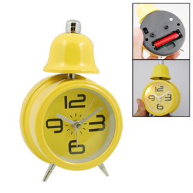 Lovely Travel Desktop Single Bell Light Alarm Clock Yellow
