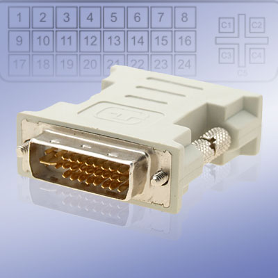 DVI-I Male to DVI-I Dual Link Male Converter Silver Plated Plug