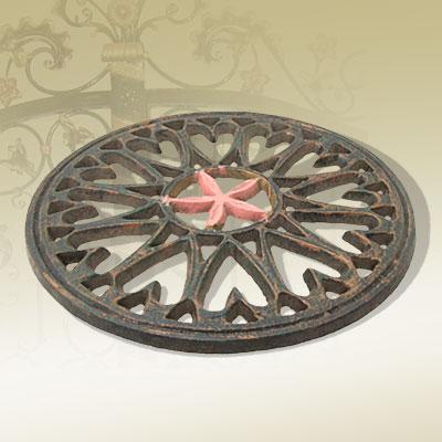Stylish Design 185mm Diameter Cast Iron Flower Door Decoration
