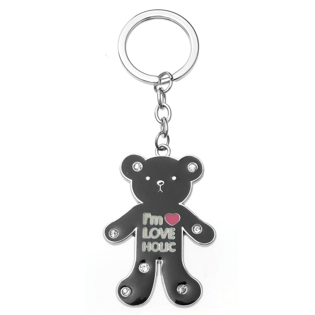 Black Bear Pendant Metal Keychain Keyring Holder New