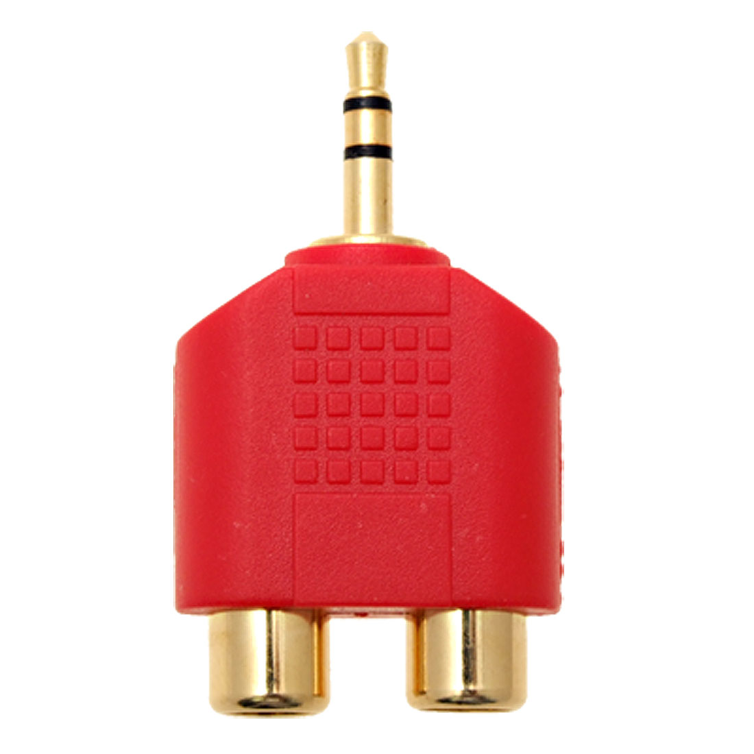 Male 3.5mm Stereo Connector to 2 RCA Female Jack Converter Adapter Red