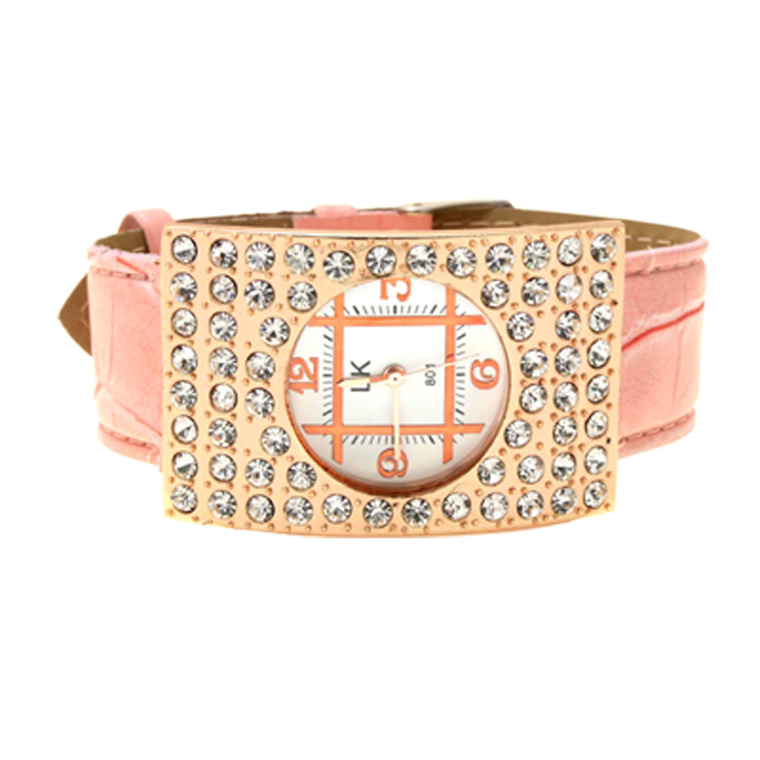 Fashion Jewelry Arciform Rhinestone Girls Womens Wrist Watch Pink Band