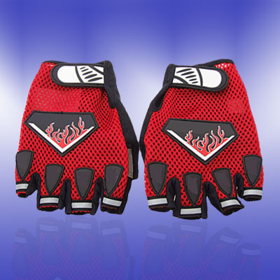 New Large Sports Mountain Bike Driving Fingerless Gloves Red