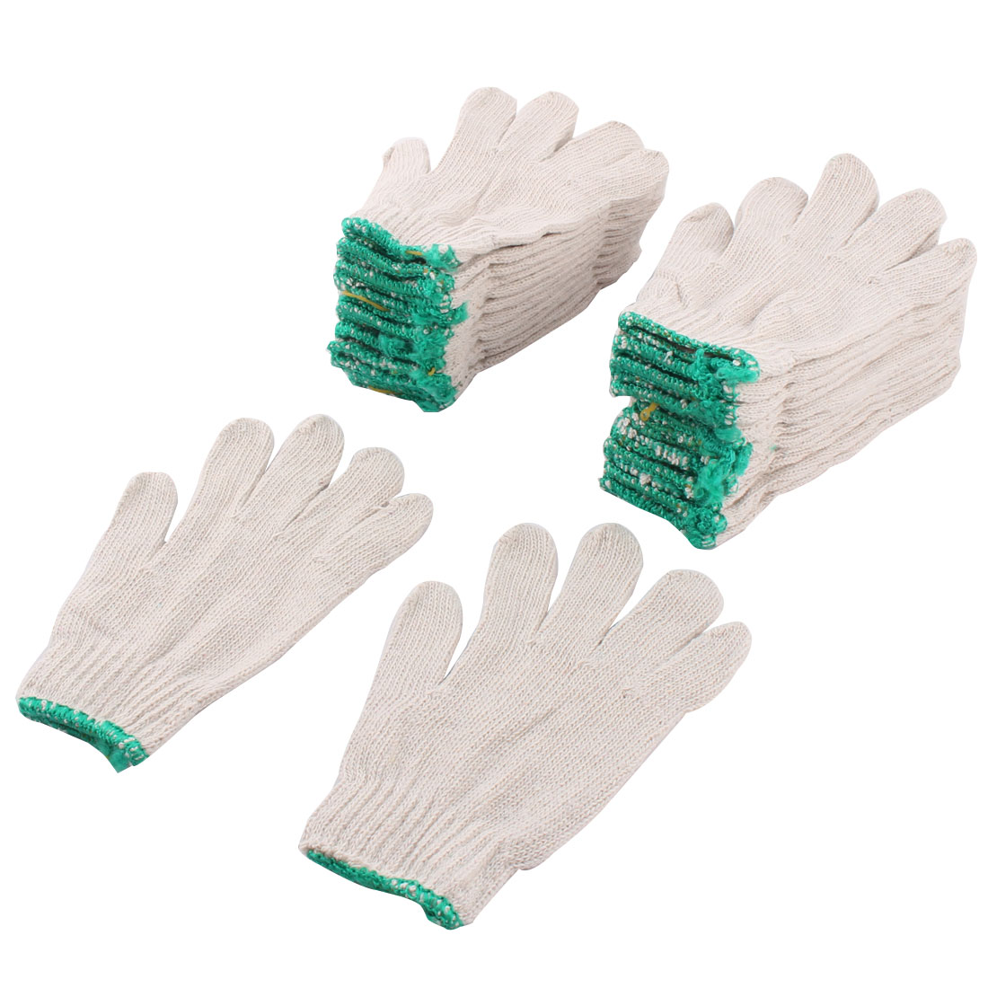 12 Pairs White Factory Industry Protective Elastic Cuff Knitted Cotton Work Gloves